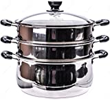 M.V. Trading S73228A Stainless Steel 3-Tier Steamer, Clad Base and Induction Ready With Lid High Dome Cover, 28cm (11-Inches)