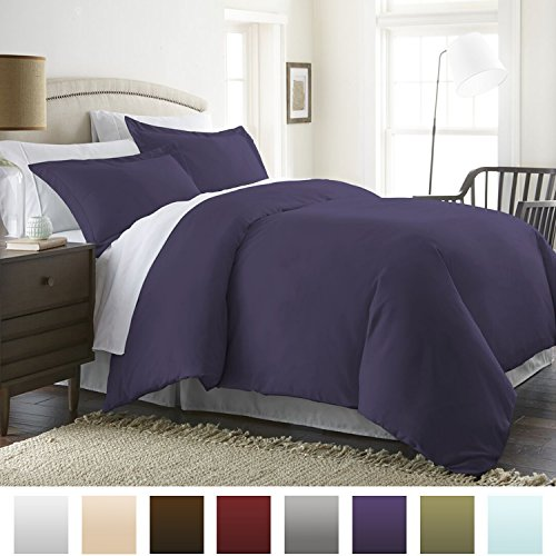 Beckham Hotel Collection Luxury Soft Brushed 1800 Series Microfiber Duvet Cover Set - Hypoallergenic - Full/Queen, Eggplant (Cover Full Queen Duvet Purple)