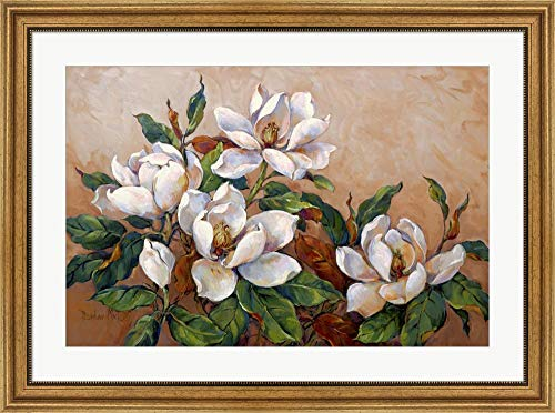 Magnolia Inspiration by Barbara Mock Framed Art Print Wall Picture, Wide Gold Frame, 35 x 26 inches