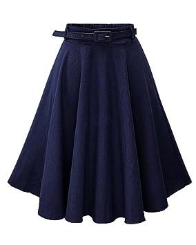 Moollyfox Mujer Faldas Vaquera Cintura Alta Falda Plisada Corto Vestidos De Fiesta Azul Marino FreeSize