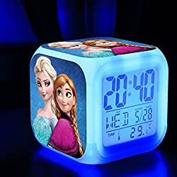 TEKIMBE Frozen Digital Alarm Clock Snow Princess Night Glowing Cube Colorful LED Clock Cute Cartoon Toys for kids Children Birthday Christmas gifts (NO.1)