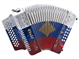 Fever F3112-W/B/R Button Accordion 31 Keys, 12 Bass on GCF Key, White, Blue and Red