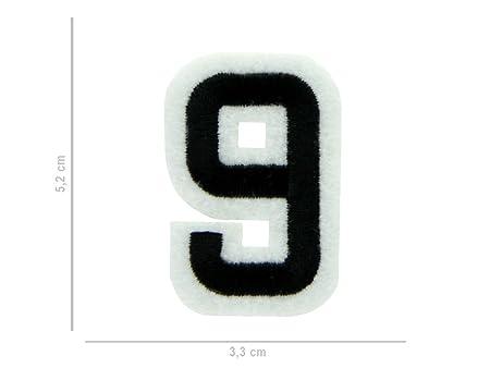 Alsino Toppa Ricamata | Patch | Numero 9 | 3 7 cm | da Cucire | Termoadesiva | Applicare con Ferro da Stiro | per Abbigliamento | Borse | Stoffe,