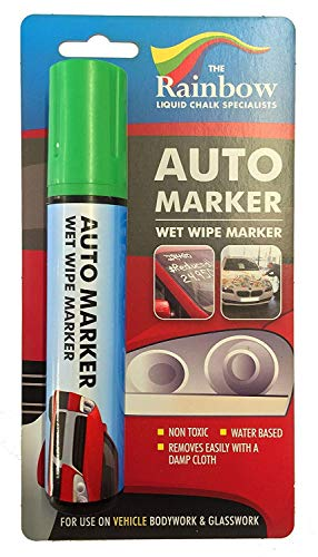(Car Paint Marker Pens Auto Writer Green - Wide Tip - All Surfaces, Windows, Glass, Tire, Metal - Any Automobile, Truck or Bicycle, Water Based Wet Erase Removable Markers Pen)