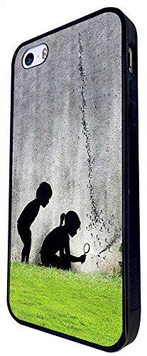 655 - Street Art Paris Boy & Girl Design iphone SE - 2016 Coque Fashion Trend Case Coque Protection Cover plastique et métal - Noir
