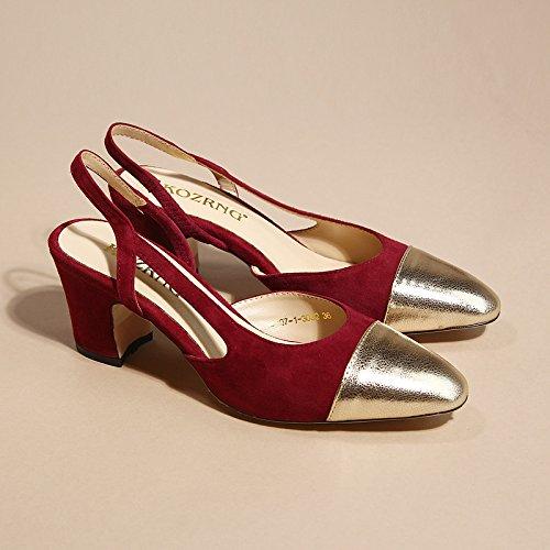 con VIVIOO Zapatos de colores de alto tacón zapatos de Zapatos cabeza Baotou Sandalias áspero alto de Salvaje color Zapatos Mujer verano Sandalias tacón pequeños dos alto wine cuadrada tacón Red con i de de de OOwrfqd