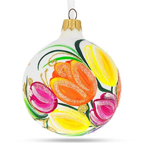 BestPysanky Tulips Glass Christmas Ornament 3.25 - Tulip Ornament