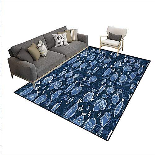 (Carpet,Sealife Marine Navy Image Tropic Fish Moss Leaves Artwork Image,Rug Kid Carpet,Blue Indigo Royal Blue,6'x7')