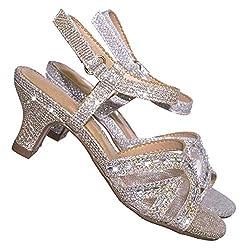 Glitter Rhinestone Sandal With Heel & Open Toe