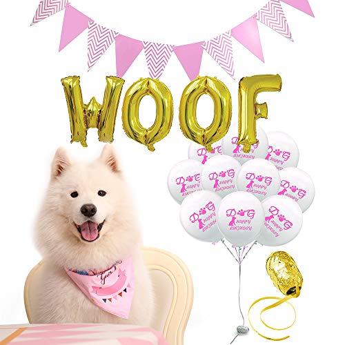 iYoY Dog Birthday Bandana, Cute Cartoon Print Birthday Party Decoration Set-10 Pawty Ballons Woof Flag Dog Birthday Bandana Scarfs Great Birthday Outfit for Boy Dog