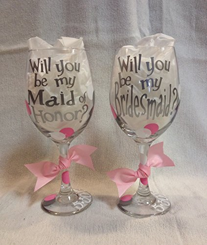 cffcb4bae0d Will you be my Bridesmaid Wine Glass, will you be my maid of honor wine  glass, bridesmaid proposal, maid of honor proposal, (one glass)