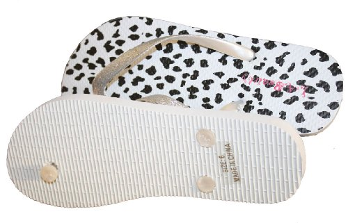 White Flop With Womens And Straps Decorated print Flip Cheetah 8q6fp5Tq