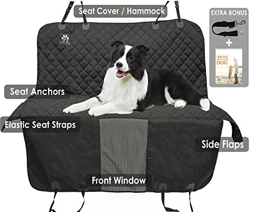 ZPAW Pet Seat Cover for Back Seat Dog Cover Car Dog Car Seat Covers Car Seat Protector Pets - Black Heavy Duty Waterproof Hammock Convertible with Back Seat Actors & A/C Window Mesh