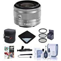 Canon EF-M 15-45mm f/3.5-6.3 IS STM Lens, Silver - BUNDLE with 49mm UV Filter, Cleaning Kit, Software Package