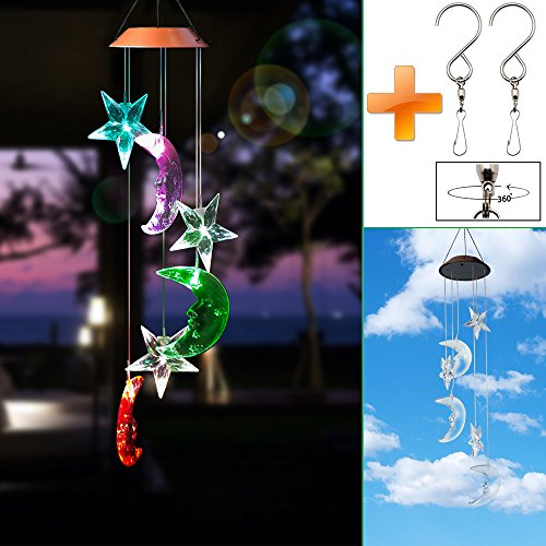 YomiTop Wind Chimes Solar Led Color-Changing Wind Chimes Waterproof Hanging Lamp for Home Garden (Star) (Suncatcher Solar)