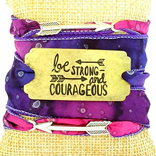 Be Strong and Courageous Silk Ribbon Wrap Bracelet with Arrows Affirmation Mantra Wrist Band