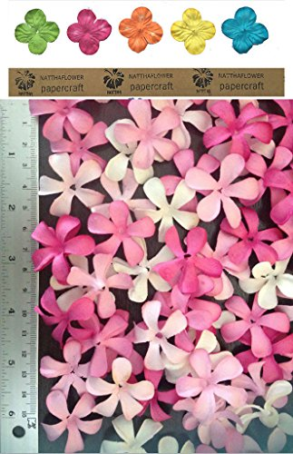 50 X Pink Color Mulberry Frangipani Paper Flowers Scrapbooking Embellishment