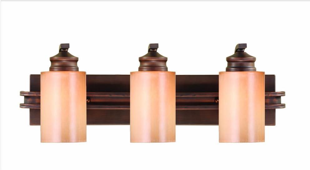 Golden Lighting 1051-BA3 SBZ Hidalgo Bath Fixture, Size 25.25-Inch W 8.375-Inch H 7.75-Inch E, Sovereign Bronze