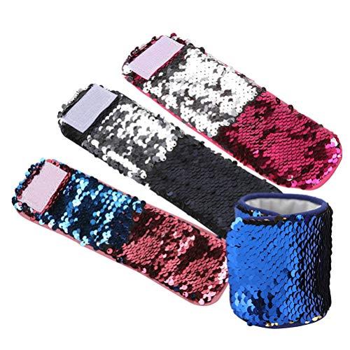 Reversible Sequin Bracelets | Decorative Charm Sequins Slap Wristband Strap Band Women Magic Slap Bracelet | for Kids Girls (4 -
