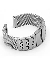 StrapsCo 22mm Stainless Steel Shark Mesh Watch Band w/ Contrasting Block Design