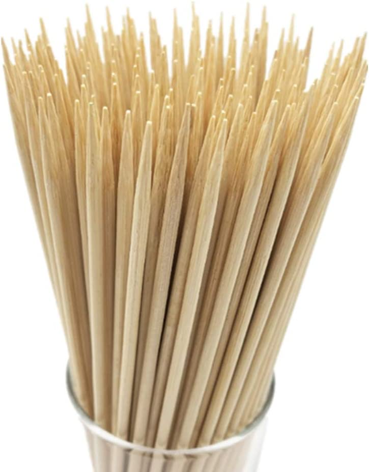 "6"" Natural Bamboo Skewers for BBQ,Appetiser,Fruit,Cocktail,Kabob,Chocolate Fountain,Grilling,Barbecue,Kitchen,Crafting and Party. Φ=4mm, More Size Choices 8""/10""/12""/14""/16""(100 PCS)"
