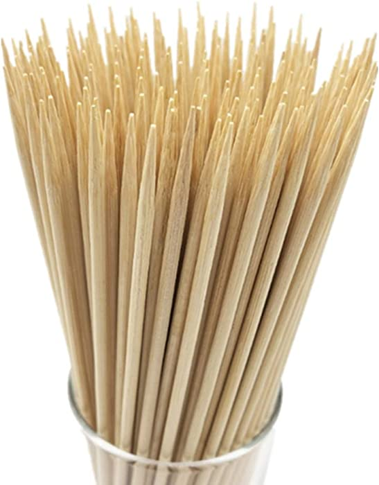 "HOPELF 8"" Natural Bamboo Skewers for BBQ,Appetiser,Fruit,Cocktail,Kabob,Chocolate Fountain,Grilling,Barbecue,Kitchen,Crafting and Party. Φ=4mm, More Size Choices 6""/10""/12""/14""/16""/30""(100 PCS)"