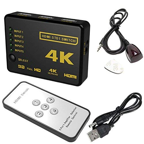 5 Port Switch Box Splitter 4K 3D 1080P HDMI IR Remote Control Selector Hub US