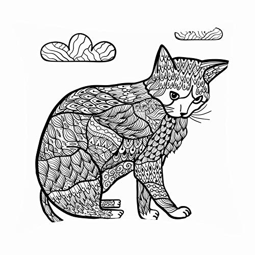 Mblue Throw Pillow Covers Coloring Page cat Zentangle Style Trendy Animals Wildlife Adult Animals Wildlife Backgrounds Textures Adult Backgrounds Textures Cushion Case 18 x 18 Inch 45 x 45 cm