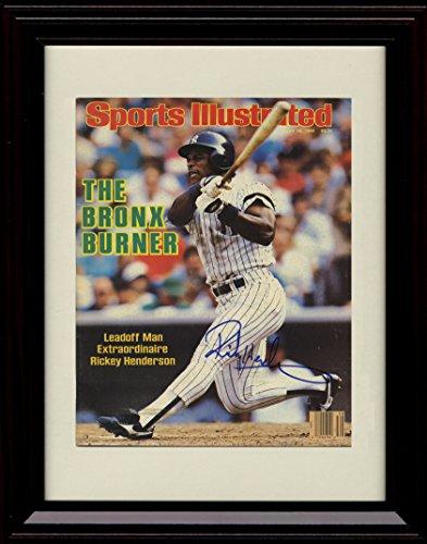 Autographs Henderson (Framed Rickey Henderson Sports Illustrated Autograph Replica Print - Bronx Burner!)