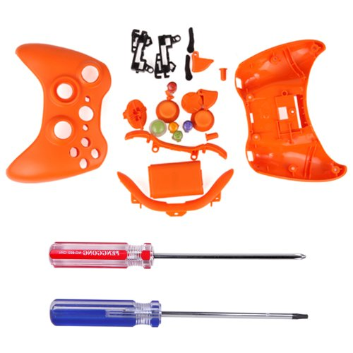 HDE Xbox 360 Wireless Controller Shell Buttons Thumbsticks Torx Screwdriver Replacement Case Cover and Tool Kit - Orange