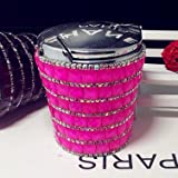 bling car cup holder - hand made unique blue light(replaceable battery) car ashtray cup holder,Luxury ashtray with lid,Stub Out Glow in the Dark Rhinestone Crystal Diamond bling (Hot Pink for car)