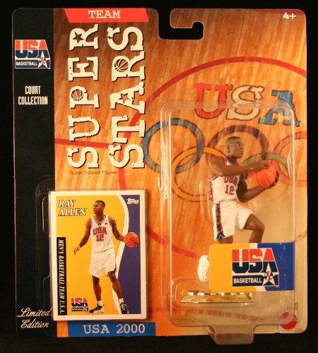 RAY ALLEN * 2000 OLYMPICS MEN'S BASKETBALL TEAM U.S.A. * NBA Team Super Stars Limited Edition Figure, USA Display Base & Exclusive Topps Collector Trading Card - Exclusive Olympic Star