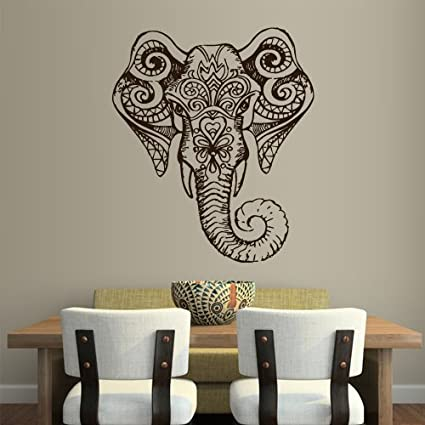 Wall Vinyl Sticker Decals Decor Art Bedroom Design Mural Ganesh Om Elephant Tatoo Head Mandala Tribal