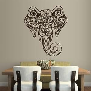Wall Vinyl Sticker Decals Decor Art Bedroom Design Mural Ganesh Om Elephant Tatoo Head Mandala Tribal (Z1960)