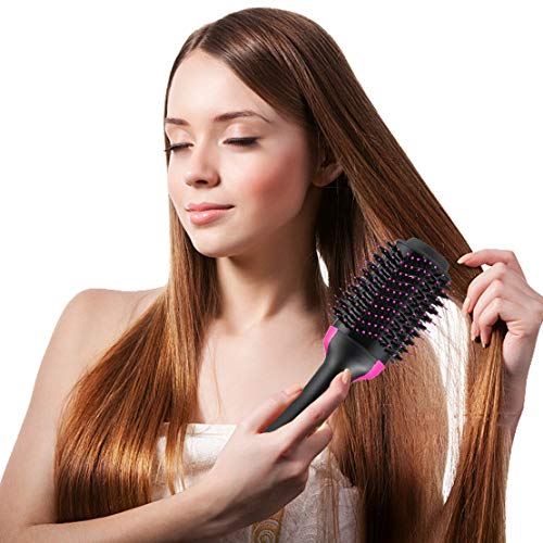 Hot Air Hair Brushes One Step Hair Dryer Volumizer 3-in-1 Negative Ion Hair Straightener Hair Curler Hair Styler Straightening Brush Hot Air Spin Brush Salon Curly Hair Comb Reduce Frizz Static