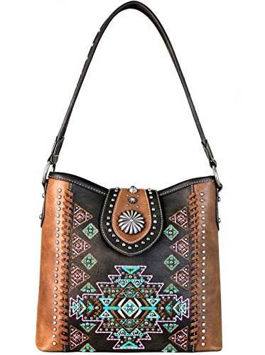 Coffee Embroidered West Carry Montana Aztec Concealed Hobo New Bq010