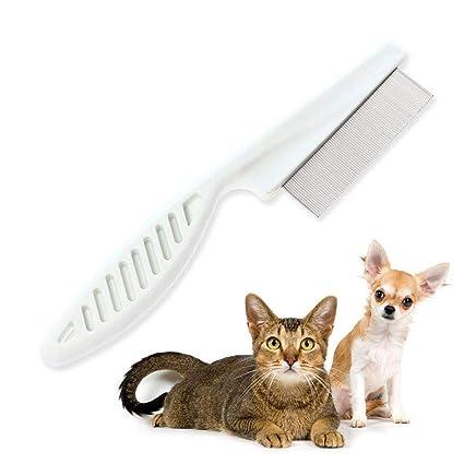 Aolvo - Peine de acero inoxidable para gatos y perros – elimina pulgas y huevos de
