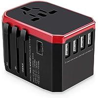 Universal Travel Adapter with 4 Ultra-Fast USB Port and 1 Ultra-Fast USB Type C Port and Power Socket Worldwide Plugs UK EU US AU Auto Switch
