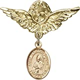 14kt Yellow Gold Baby Badge with St. Malachy O'More Charm and Angel w/Wings Badge Pin 1 1/8 X 1 1/8 inches