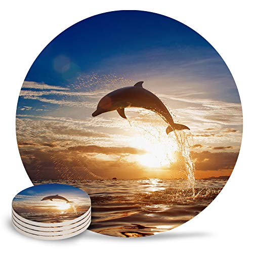 Ceramic Coaster 4-Piece Absorbent Stone Coasters with Cork Base Leaping Dolphin Sunrise Background Coasters Mats for Cold Drinks Coffee Mugs Glass Cup Place