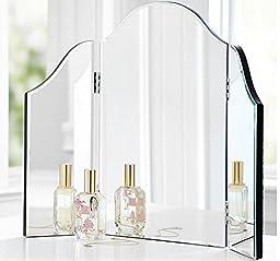 Trifold Vanity Makeup Mirror Bathroom Bedroom Dresser Table Countertop Folding Mirrored Glass Tri Fold Dressing Wing Mirror Portable Beveled Edge Venetian Style