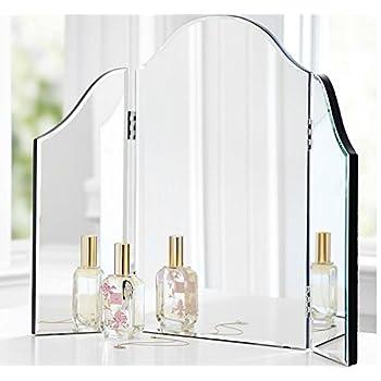Trifold Vanity Makeup Mirror Bathroom Bedroom Dresser Table Countertop Folding Mirrored Glass Tri Fold Dressing Wing Mirror Portable Beveled Edge Venetian