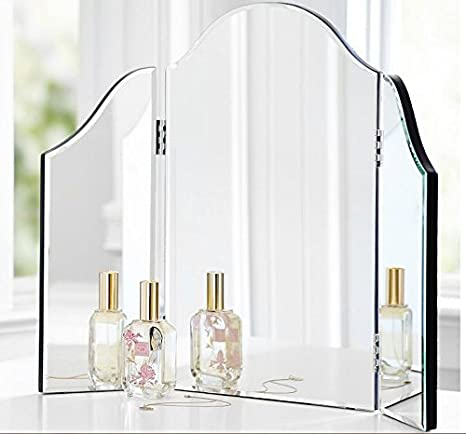 Trifold Vanity Makeup Mirror Bathroom Bedroom Dresser Table Countertop  Folding Mirrored Glass Tri Fold Dressing Wing Mirror Portable Beveled Edge  ...