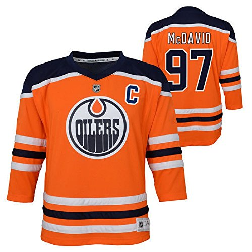 Oilers Jersey - Connor McDavid Edmonton Oilers NHL Youth Orange Replica Player Jersey (Youth Small/Medium 8-12)