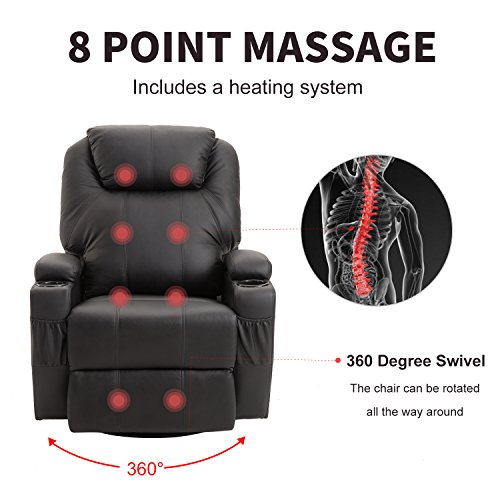windaze Massage Recliner Chair, Heated and 360 Degree Swivel Recliner Leather Sofa Chair with 8 Vibration Motors, Black