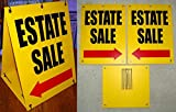 """1-Set Persuasive Unique Estate Sale with Arrow Sign Plastic Coroplast Message 2-Sided Sandwich Outdoor Banners Clearance Price Store Retail Banner Business Display Signage Size 18""""x24"""" Board Yellow"""