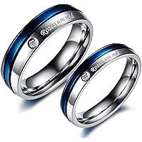 دبل رجالي نسائي مطلي كريستال مبهرة مصنع من التيتانيوم هدية ذكري الزواج لون فضي وأزرق cr6مقاس خاتم الرجل:9 مقاس خاتم…