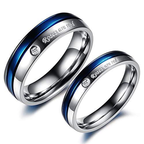 Tatanium Steel White And Blue Diamond Wedding Gift Anniversary