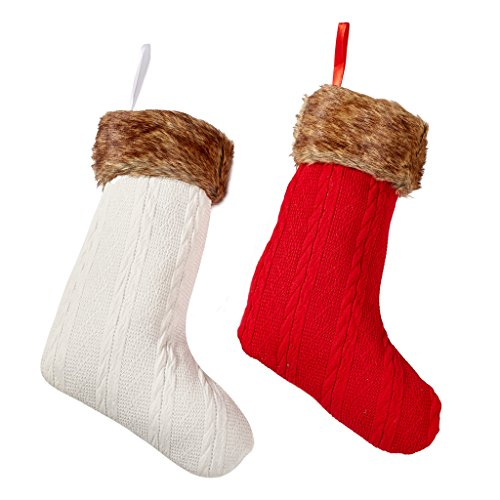 Christmas Stockings Large Size Red and White Knit - Set of 2 - Christmas Decor by Rorgio (Red And White Christmas Stocking)