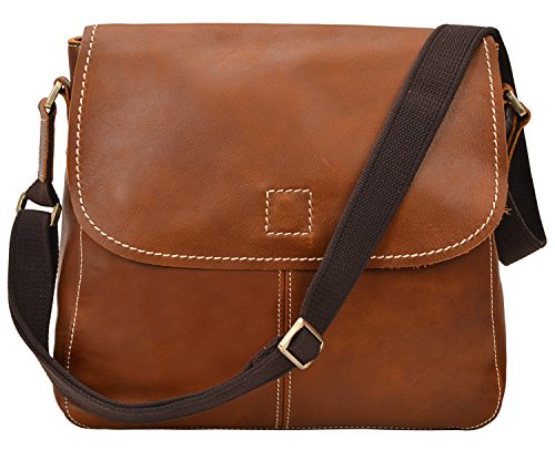 ALTOSY 15 Inch Genuine Leather Messenger Bag Satchel Bag for Office Work College School Business 8069 (light brown) by ALTOSY (Image #1)
